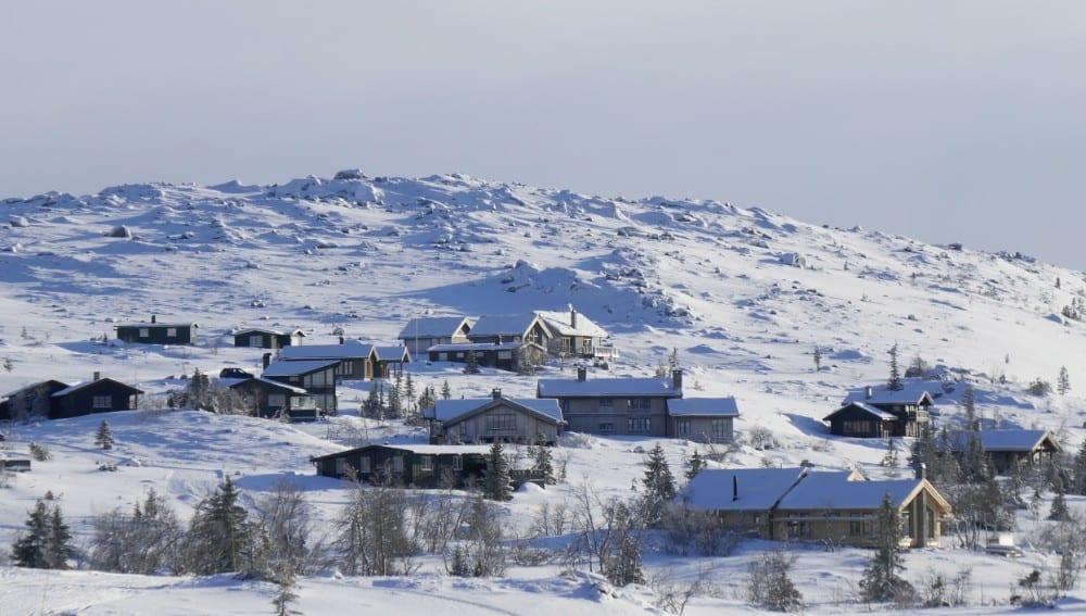 Fjellhytteområde vinter
