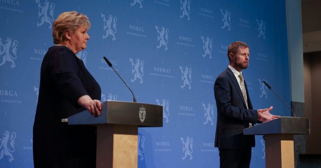 Pressekonferanse med Erna Solberg og Bent Høie